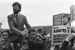 Gerry Adams (Sinn Fein vice President) after winning West Belfast seat at Westminster. Pictured on Falls Road after result.  Pictured on shoulders of supporters.  Pacemaker Press Intl.  10/6/83.  532/83/BW