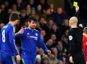 Chelsea's Brazilian-born Spanish striker Diego Costa (2nd L) reacts to being shown a yellow card from referee Anthony Taylor during the English Premier League football match between Chelsea and West Bromwich Albion at Stamford Bridge in London on January 13, 2016. AFP PHOTO / BEN STANSALL  RESTRICTED TO EDITORIAL USE. NO USE WITH UNAUTHORIZED AUDIO, VIDEO, DATA, FIXTURE LISTS, CLUB/LEAGUE LOGOS OR 'LIVE' SERVICES. ONLINE IN-MATCH USE LIMITED TO 75 IMAGES, NO VIDEO EMULATION. NO USE IN BETTING, GAMES OR SINGLE CLUB/LEAGUE/PLAYER PUBLICATIONS.BEN STANSALL/AFP/Getty Images