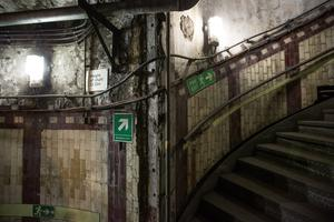 LONDON, ENGLAND - APRIL 13:  A general view of a stairway in the Down Street underground station on April 13, 2016 in London, England. London Transport Museum will be giving tours as part of their new 'Hidden London' season beginning May 7, 2016. Down Street station in Mayfair operated between 1907 and 1932 and after closing, played an important part during the Second World War when it was transformed into the Railway Executive Committee's bomb proof shelter. During the height of the Blitz, British Prime Minister Winston Churchill took refuge in the station tunnels.  (Photo by Dan Kitwood/Getty Images)