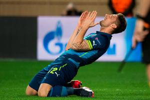 Arsenal's French striker Olivier Giroud reacts during the UEFA Champions League football match Monaco vs Arsenal, on March 17, 2015 at Louis II stadium in Monaco. AFP PHOTO / BERTRAND LANGLOISBERTRAND LANGLOIS/AFP/Getty Images