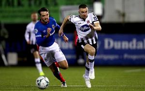 Dundalk's Michael Duffy in action against Linfield.