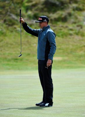 NEWCASTLE, NORTHERN IRELAND - MAY 29:  Rickie Fowler of the United States lines up on the 3rd green during the Second Round of the Dubai Duty Free Irish Open Hosted by the Rory Foundation at Royal County Down Golf Club on May 29, 2015 in Newcastle, Northern Ireland.  (Photo by Ross Kinnaird/Getty Images)