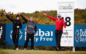 NEWCASTLE, NORTHERN IRELAND - MAY 29:  Darren Clarke of Northern Ireland gestures after his tee shot on the 18th hole during the Second Round of the Dubai Duty Free Irish Open Hosted by the Rory Foundation at Royal County Down Golf Club on May 29, 2015 in Newcastle, Northern Ireland.  (Photo by Ross Kinnaird/Getty Images)