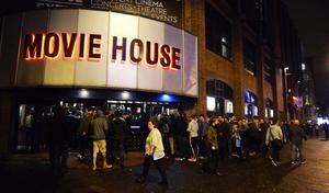 "Hundreds of Star Wars fans queue outside the Movie House on the Dublin road in order to see the latest  film "" The Force Awakens"". Picture Mark Marlow/pacemaker press"
