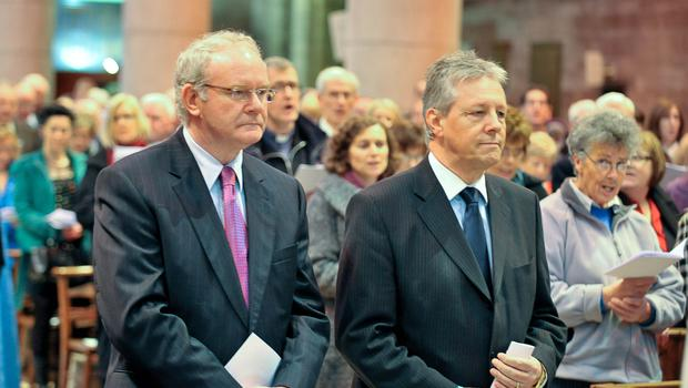 PACEMAKER PRESS INTL. 6/2/11 : First Minister Peter Robinson and Dep. First Minister Martin McGuinness pictured at a special Good Samaritans Service in St. Anne's Cathedral, Belfast. Donations from the Black Santa Christmas Sit out were presented to representatives of 180 charities and community groups. PHOTO: Kirth Ferris/Pacemaker
