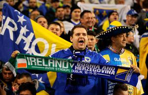 DUBLIN, IRELAND - NOVEMBER 16:  Bosnia and Herzegovina fans enjoy the atmosphere prior to kickoff during the UEFA EURO 2016 Qualifier play off, second leg match between Republic of Ireland and Bosnia and Herzegovina at the Aviva Stadium on November 16, 2015 in Dublin, Ireland.  (Photo by Ian Walton/Getty Images)