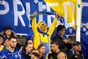 A Bosnia and Herzegovina fan in the stands prior to the UEFA Euro 2016 Qualifying Playoff second leg at the Aviva Stadium, Dublin. PRESS ASSOCIATION Photo. Picture date: Monday November 16, 2015. See PA story SOCCER Republic. Photo credit should read: Niall Carson/PA Wire. RESTRICTIONS Editorial use only, No commercial use without prior permission, please contact PA Images for further information: Tel: +44 (0) 115 8447447.