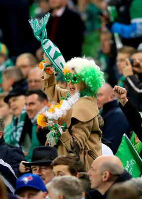 A Republic of Ireland fan in the stands prior to the UEFA Euro 2016 Qualifying Playoff second leg at the Aviva Stadium, Dublin. PRESS ASSOCIATION Photo. Picture date: Monday November 16, 2015. See PA story SOCCER Republic. Photo credit should read: Niall Carson/PA Wire. RESTRICTIONS Editorial use only, No commercial use without prior permission, please contact PA Images for further information: Tel: +44 (0) 115 8447447.