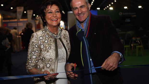Mandatory Credit - Picture by Freddie Parkinson © Friday 18 January 2019 Belfast Telegraph Holiday World Show, Titanic Exhibition Centre, Belfast. Maureen Ledwith Director of Holiday World and Paul Martin of Flog It cut the tape to open the 2019 show