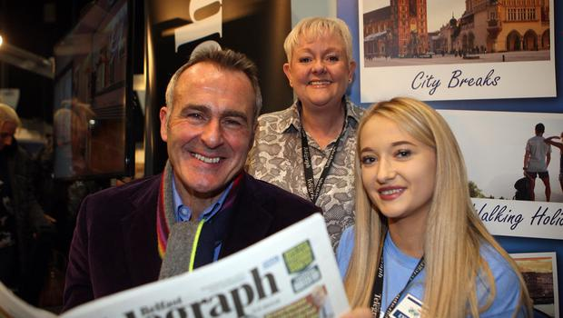 Mandatory Credit - Picture by Freddie Parkinson © Friday 18 January 2019 Belfast Telegraph Holiday World Show, Titanic Exhibition Centre, Belfast. Paul Martin, Gillian Galbraith and Shannon Todd
