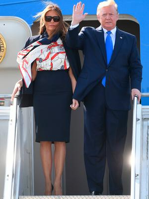 US President Donald Trump and his wife Melania arrive at Stansted Airport in Essex, aboard Air Force One for the start of his three day state visit to the UK. PRESS ASSOCIATION Photo. Picture date: Monday June 3, 2019. See PA story ROYAL Trump. Photo credit should read: Joe Giddens/PA Wire