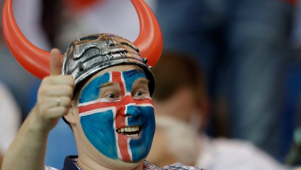 An Iceland fan supports his team on the stands prior to the start of the group D match between Iceland and Croatia, at the 2018 soccer World Cup in the Rostov Arena in Rostov-on-Don, Russia, Tuesday, June 26, 2018. (AP Photo/Natacha Pisarenko)