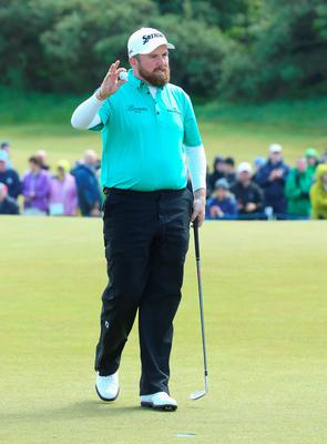 NEWCASTLE, NORTHERN IRELAND - MAY 29:  Shane Lowry of Ireland putts with a wedge on the 9th green after breaking his putter in anger during the Second Round of the Dubai Duty Free Irish Open Hosted by the Rory Foundation at Royal County Down Golf Club on May 29, 2015 in Newcastle, Northern Ireland.  (Photo by Andrew Redington/Getty Images)