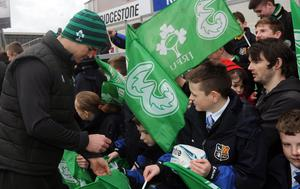 PACEMAKER BELFAST 5/3/2015  Ireland's Johnny Sexton signs autographs for fans after a open training session at The Kingspan Stadium in Belfast on thursday Morning  Pic Colm Lenaghan/Pacemaker