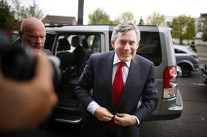 GLASGOW, SCOTLAND - SEPTEMBER 16:  Former British Prime Minister Gordon Brown arrives at Dumbarton Town hall to speak to No campaigners on September 16, 2014 in Glasgow, Scotland. Yes and No supporters are campaigning in the last two days of the referendum to decide if Scotland will become an indpendent country.  (Photo by Peter Macdiarmid/Getty Images)