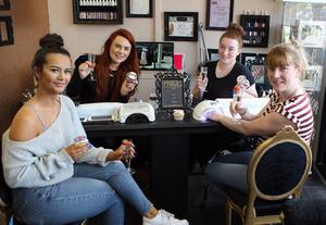 Mandatory Credit - Picture by Freddie Parkinson/Press Eye © Saturday 19 May 2018 The Little Beauty Lounge, Crumlin Road, Belfast  Prosecco and Strawberries at the party for Emma Moore, Jade Hamill, Lauren Williamson and Kelly Crawford