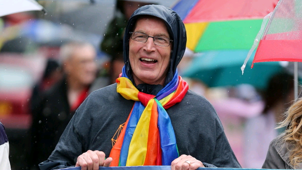 Press Eye - Belfast - Northern Ireland - 2nd August 2014 - Picture by Kelvin Boyes  / Press Eye.  Sinn Fein's Gerry Kelly at the 2014 Belfast Pride parade in Belfast city centre this afternoon.  Thousands of people attended the annual Gay Pride parade in Belfast city centre.  Now in its 24th year, the Belfast parade is claimed to be the largest of its kind on the island of Ireland.  The parade will left Custom House Square and make its way through the city centre.