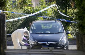 Forensic officers examine a car at the scene in the Sunningdale Gardens area, off the Ballysillan Road on Monday 8th August 2016 following the fatal shooting of John Borland ( Photo by Kevin Scott / Presseye )