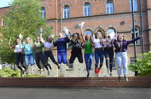 A Level Students from St Dominic's Grammar School on the Falls Road in Belfast pictured after receiving their A-levels. Picture By: Pacemaker Press
