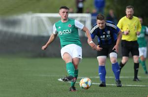Playing again: Willowbank's Ciaran Winchester in action against NFC Kesh in last night's Junior Cup semi-final at Holm Park