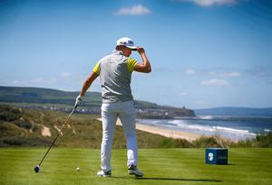 Press Eye - Belfast - Northern Ireland - 8th July 2017   Day three of the Dubai Duty Free Irish Open Hosted by the Rory Foundation at Portstewart Golf Club, Co.Derry / Co. Londonderry, Northern Ireland.  Daniel Im on the 1st tee box as he get round 3 under way.  Picture by Matt Mackey / presseye.com