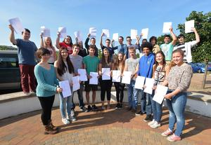 PACEMAKER BELFAST  13/08/2014 Some of the A level students celebrating their results at Grosvenor Grammar school this morning. PHOTO ARTHUR ALLISON/PACEMAKER PRESS