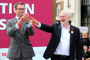 WATFORD, UNITED KINGDOM - JUNE 07:  Jeremy Corbyn, Leader of the Labour Party and Chris Ostrowski, Labour candidate for Watford during a campaign rally at the Parade on June 7, 2017 in Watford, United Kingdom. The Labour leader is holding six rallies across Scotland, England and Wales today on the final day before polling day in the General Election.  (Photo by Matt Cardy/Getty Images)