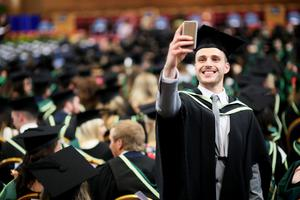 Graduating from Ulster University today with degree PGSE Primary is Aaron Atcheson from Dundonald. Pic By Paul Moane / Aurora PA