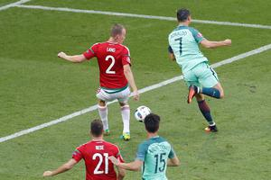 Portugal's Cristiano Ronaldo, right, scores his side's 2nd goal during the Euro 2016 Group F soccer match between Hungary and Portugal at the Grand Stade in Decines-Charpieu, near Lyon, France, Wednesday, June 22, 2016. (AP Photo/Michael Sohn)