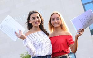 Pacemaker Press Belfast 24-08-2017: GCSE results for pupils in Northern Ireland have improved again, with one in 10 entries being awarded an A*. Hannah James and Victoria Gillespie pupils from Grosvenor Grammar School in Belfast, Northern Ireland pictured after  receiving their GCSE results. Picture By: Pacemaker.