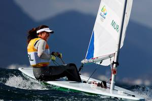 RIO DE JANEIRO, BRAZIL - AUGUST 12:  Annalise Murphy of Ireland waits to compete in the delayed Women's Laser Radial class on Day 7 of the Rio 2016 Olympic Games at Marina da Gloria on August 12, 2016 in Rio de Janeiro, Brazil.  (Photo by Clive Mason/Getty Images)