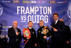 Carl Frampton (second left) and Scott Quigg (second right) alongside promoters Barry McGuigan and Eddie Hearn go head to head after a press conference at the Radisson Blu Hotel, Manchester. Simon Cooper/PA Wire.