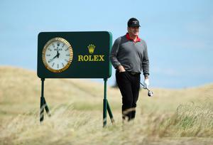 GULLANE, SCOTLAND - JULY 15:  Sir Nick Faldo of England looks on ahead of the 142nd Open Championship at Muirfield on July 15, 2013 in Gullane, Scotland.  (Photo by Andy Lyons/Getty Images)