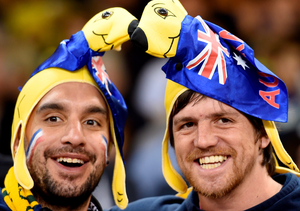 Australia fans cheer on their side before the Rugby World Cup match at the Millennium Stadium, Cardiff. PRESS ASSOCIATION Photo. Picture date: Wednesday September 23, 2015. See PA story RUGBYU Australia. Photo credit should read: Andrew Matthews/PA Wire. RESTRICTIONS: Editorial use only. Strictly no commercial use or association without RWCL permission. Still image use only. Use implies acceptance of Section 6 of RWC 2015 T&Cs at:http://bit.ly/1MPElTL Call +44 (0)1158 447447 for further info.