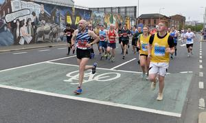 7th May 2018 37th Deep RiverRock Belfast City Marathon   Runners pictured at the Falls road during the marathon  Mandatory Credit ©Presseye/Stephen Hamilton