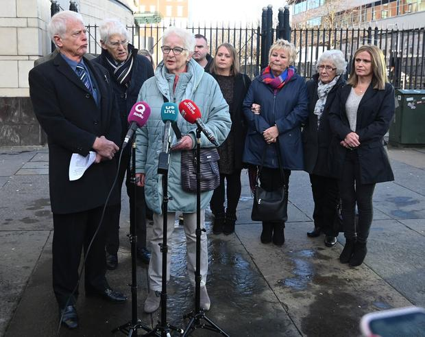 Family members of Robert Flowerday including Alan (Brother) and Pat (Sister) speak to the media after Michael Gerard Owens was given 16-year minimum jail term for the murder of Robert Flowerday. Photo Pacemaker Press