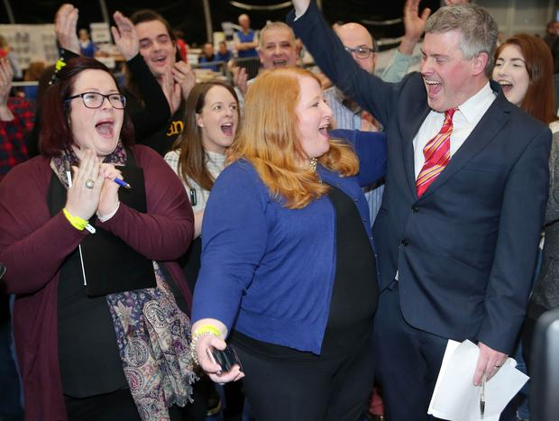 NI Assembly Election 2017 Count at Titanic Exhibition Centre in Belfast for Belfast East,  Belfast North, Belfast South and Belfast West constituencies. Alliance party leader and eat Belfast candidate Naomi Long(centre) celebrates with party colleagues after she tops the poll. Photo by Jonathan Porter / Press Eye.