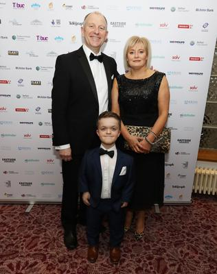 Jonathan McLaughlin with his mum Kathy and dad Andy, at the Eastside Awards finalist reception hosted by The Waterside Belfast  www.eastsideawards.org