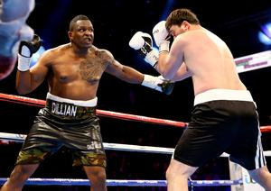 28th February 2015   ?William Cherry/Presseye  Dillian Whyte with Beka Lobjanidze during Saturdays heavyweight contest at the Odyssey arena, Belfast