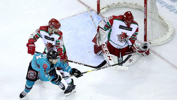 Cardiff Devils netminder Ben Bowns stops a shot from Belfast Giants centre Brian Ward during Sunday afternoon's game at the SSE Arena (William Cherry/Presseye)