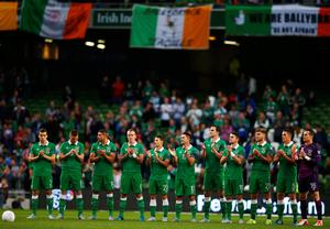 DUBLIN, IRELAND - SEPTEMBER 07:  Ireland players line up prior to the UEFA EURO 2016 Group D qualifying match between Republic of Ireland and Georgia at Aviva Stadium on September 7, 2015 in Dublin, Ireland.  (Photo by Ian Walton/Getty Images)
