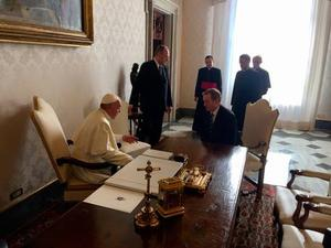 Pope Francis meets Taoiseach Enda Kenny in Rome.