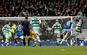 Rangers' Barrie McKay (second right)scores his sides second goal during the William Hill Scottish Cup semi-final match at Hampden Park, Glasgow. PRESS ASSOCIATION Photo. Picture date: Sunday April 17, 2016. See PA story SOCCER Rangers. Photo credit should read: Danny Lawson/PA Wire. EDITORIAL USE ONLY