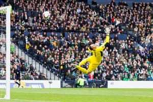 Rangers' Barrie McKay (not pictured) scores his sides second goal past Celtic goalkeeper Craig Gordon during the William Hill Scottish Cup semi-final match at Hampden Park, Glasgow. PRESS ASSOCIATION Photo. Picture date: Sunday April 17, 2016. See PA story SOCCER Rangers. Photo credit should read: Jeff Holmes/PA Wire. EDITORIAL USE ONLY