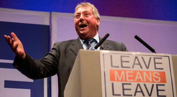 Squeaked out: East Antrim DUP MP and party Brexit spokesman Sammy Wilson.
