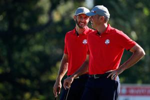 CHASKA, MN - SEPTEMBER 30: Dustin Johnson and Matt Kuchar of the United States look on from the 14th green during morning foursome matches of the 2016 Ryder Cup at Hazeltine National Golf Club on September 30, 2016 in Chaska, Minnesota.  (Photo by Streeter Lecka/Getty Images)