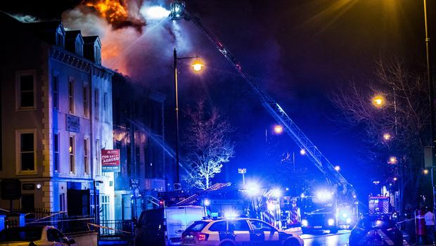 Firefighters battle a fire at the Blaze & Glaze restaurant on University Road, Belfast on January 21st 2020 (Photo by Kevin Scott for Belfast Telegraph)