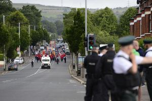 Pacemaker Press 12-07-2019:   The Orange Order parade through Ardoyne passed off peacefully in Belfast, Northern Ireland.  Picture By: Arthur Allison/Pacemaker Press.