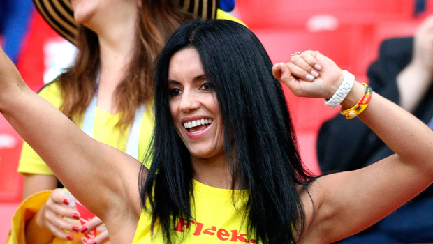 A Colombia fan shows her support in the stands prior to the FIFA World Cup 2018, round of 16 match at the Spartak Stadium, Moscow.