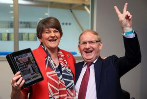 First Minister Arlene Foster (DUP) with party colleague Lord Maurice Morrow celebrate their victory in Fermanagh South Tyrone as part of The Northern Ireland Assembly Election 2016 at Omagh Leisure Centre.